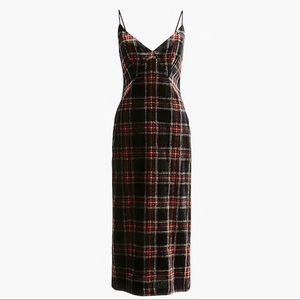 J Crew Spaghetti-strap Stewart tartan velvet dress